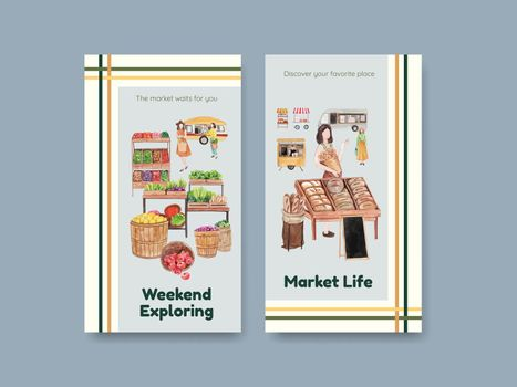 Instagram template with weekend market concept,watercolor style
