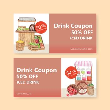 Voucher template with weekend market concept,watercolor style