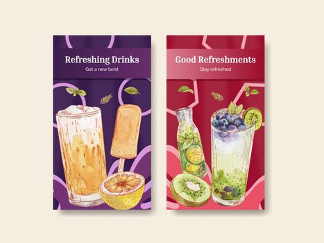 Instagram template with refreshment drinks concept,watercolor style