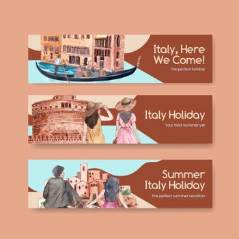 Banner template with Italy summer holiday concept,watercolor style