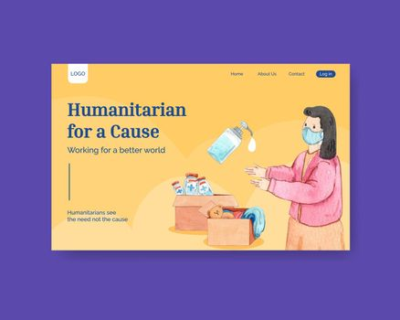 Website template with humanitarian aid concept,watercolor style