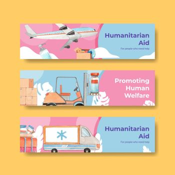 Banner template with humanitarian aid concept,watercolor style