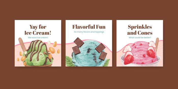 Banner template with ice cream flavor concept,watercolor style