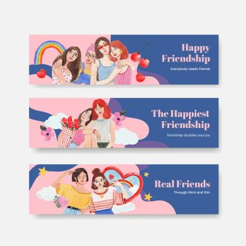 Banner template with National Friendship Day concept,watercolor style