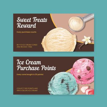 Voucher template with ice cream flavor concept,watercolor style