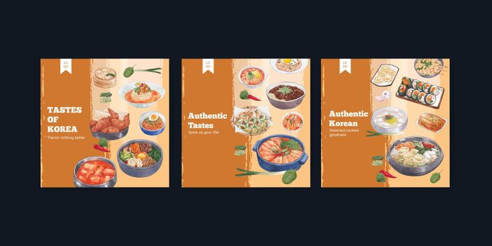 Banner template with Korean foods concept,watercolor style