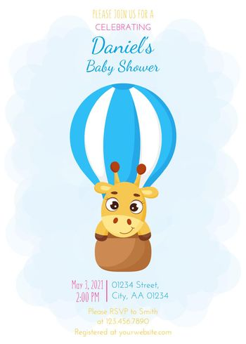 Baby Shower invitation card template with cute little giraffe flying on hot air balloon. Funny cartoon character. It's a boy. Bright colored childish stock vector illustration