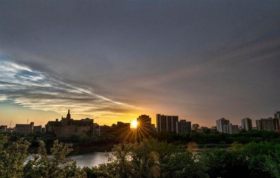 Sunset Saskatoon Skyline