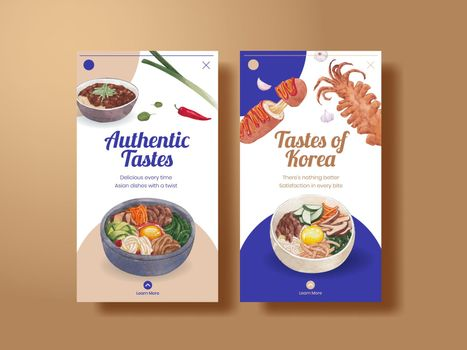 Instagram template with Korean foods concept,watercolor style
