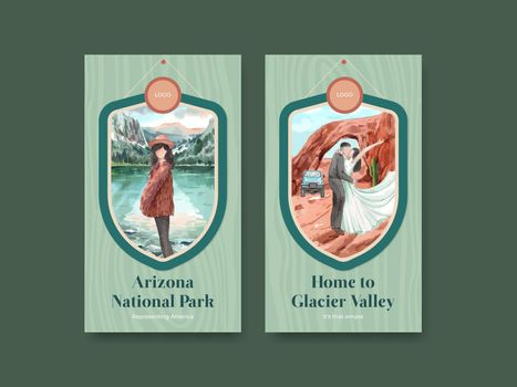 Instagram template with national parks of the United States concept,watercolor style