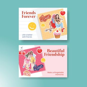 Facebook template with National Friendship Day concept,watercolor style