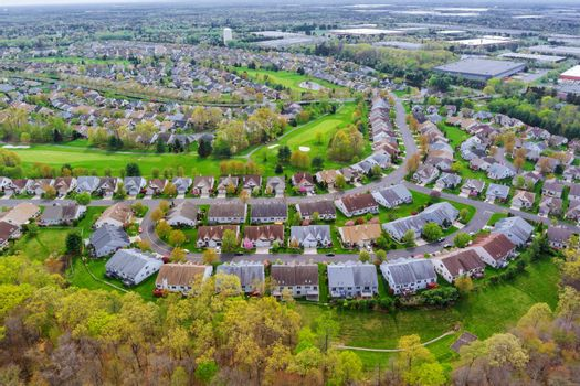 Panorama view of american small town residential houses neighborhood suburban complex