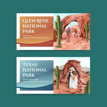Twitter template with national parks of the United States concept,watercolor style