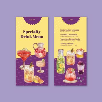 Menu template with refreshment drinks concept,watercolor style