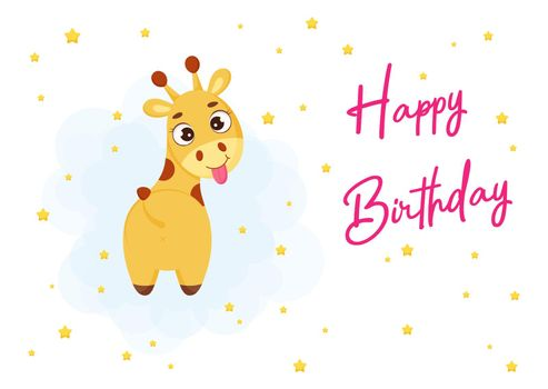 Happy Birthday printable party greeting card with cute little giraffe. Birthday party invitation card template. Bright colored stock vector illustration