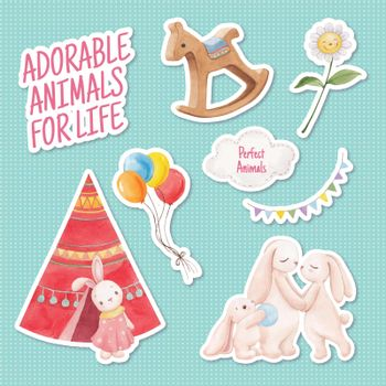 Sticker template with adorable animals concept,watercolor style