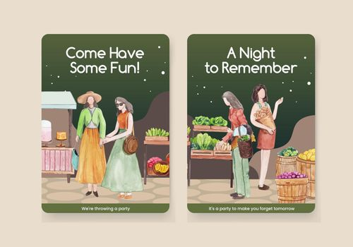 Card template with weekend market concept,watercolor style