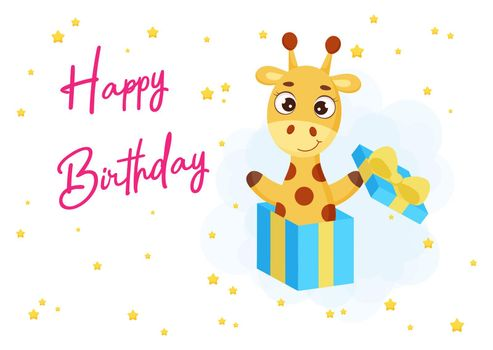 Happy Birthday printable party greeting card with cute little giraffe jumping from gift box. Birthday party invitation card template. Bright colored stock vector illustration
