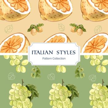 Pattern seamless template with Italian style concept,watercolor style