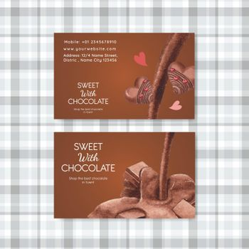Name card template with world chocolate day concept,watercolor style
