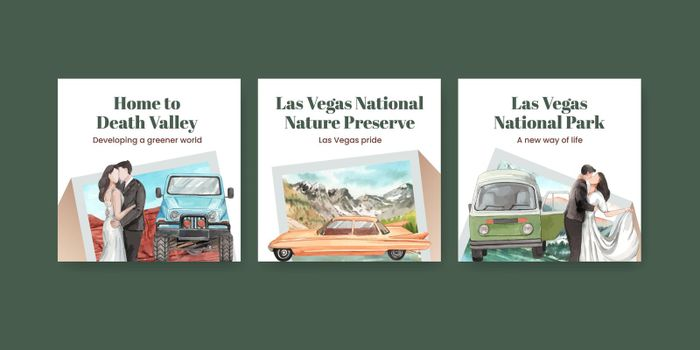 Banner template with national parks of the United States concept,watercolor style