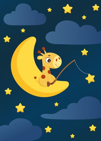 Cute little giraffe sitting on moon with fishing rod catches stars. Cartoon character for kids room decoration, nursery art, birthday party, baby shower. Bright colored stock vector illustration