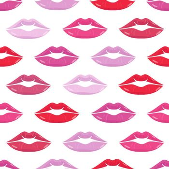 Seamless pattern with lips on white background. Beauty repeated backdrop. Girlish wallpaper. Desing for textile, clothes.