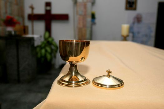 chalice for sacred ostia in a catholic church