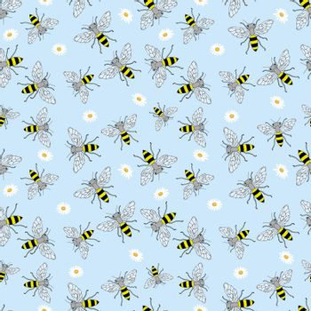 Sketch bee seamless pattern. Funny background with insects. Hand drawn design for wrapping, textile or honey package.