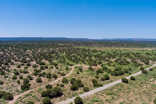 Panoramic view of sparse desert like landscape in New Mexico, USA