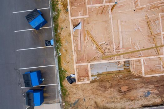 New home construction framing of a house under construction