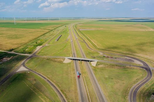Panorama aerial view of highway road junction from the height drone