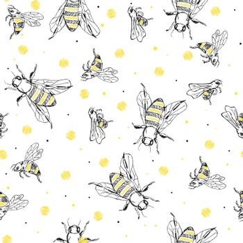 Sketch bee seamless pattern. Black and yellow background with insects. Hand drawn design for wrapping, textile or honey package.