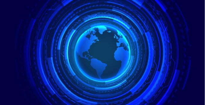 global technology concept glowing wallpaper