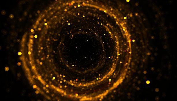 golden glitter sparkle particle circular frame background