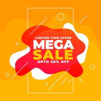 mega sale banner design with fluid style shapes