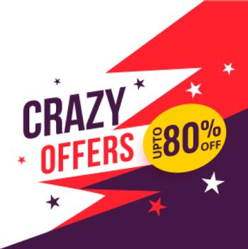 crazy offer sale banner with discount details