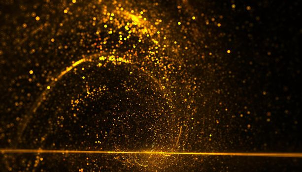golden particles bursting energy in spiral movement