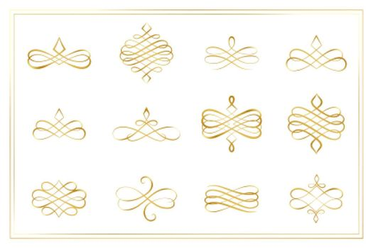 swirl calligraphic ornament decorative borders or dividers collection