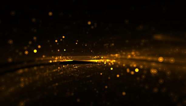 shiny golden particles with light streak
