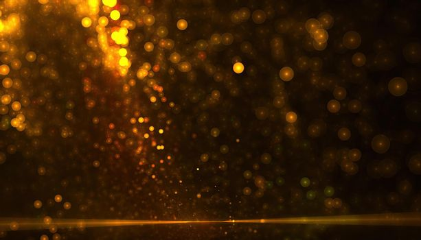 golden particle dust background with bokeh effect