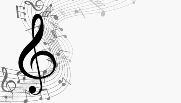 musical notes with sound wave background