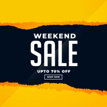 weekend sale banner in torn paper style