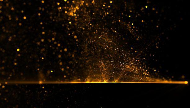 golden particles dust explosion background