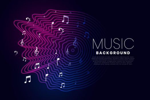 music background with sound wave and notes