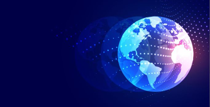 illuminated earth with particles flow background