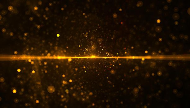 golden glitter particle with beam of light