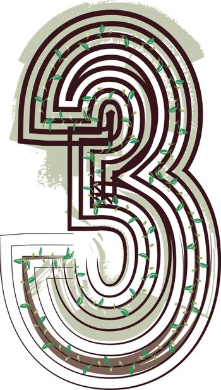 Number 3  Eco Logo Icon Design