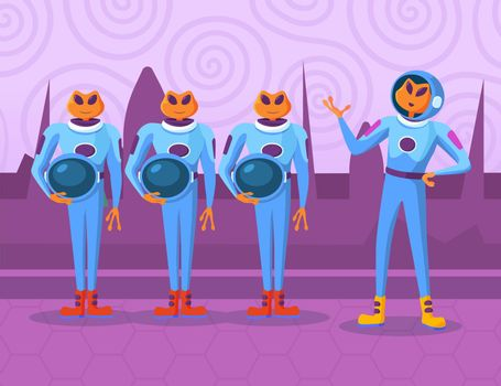 Cartoon aliens characters standing and listening order of chief