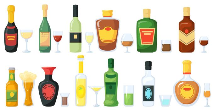Bottles of alcoholic drinks with glasses vector illustration set